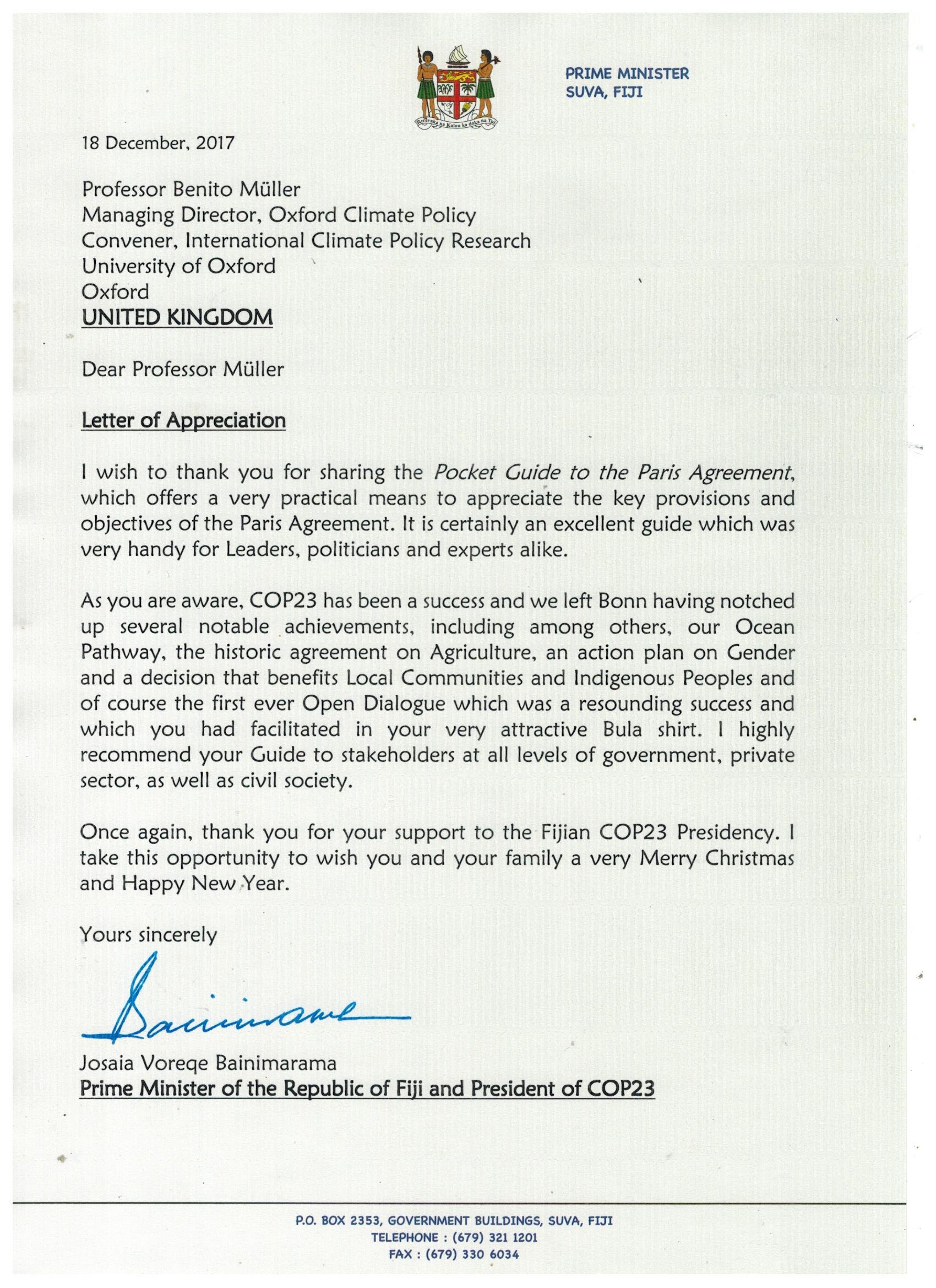 a letter of appreciation from fijian prime minister josaia voreqe bainimarama who presided over unfccc cop23